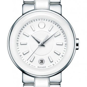 Movado Cerena Ladies Ceramic and Stainless Steel White 36mm Watch 0606539