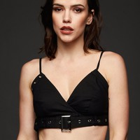 Hardwired Bustier Crop Top with Studs and Buckles