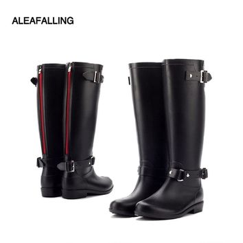 Aleafalling rain boots design mid-calf boots student rain boots school shoes woman solid rubber waterproof school botas w016