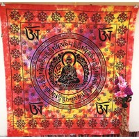 Red floral Indian Tapestry Wall Hanging Bohemian Wall Decor Hippie Dorm Bedspread Beach Blanket