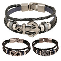 Fashion Jewelry Anchor Cross Alloy Leather Men's Bracelet Casual personality PU Beaded Bracelet Vintage Punk Bracelet BH001