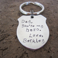 Hand Stamped Dad You're My Hero Shield Keychain-Father's Day Gift-Gift for Dad-Cop Keychain-Police Officer Keychain-Policeman Badge Keychain