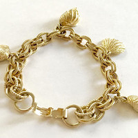 Vintage Signed 7 Inch Gold Toned Double Link Bracelet with Four Sea Shell Charms, Classic Sea Shell Charm Bracelet