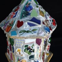 "Mosaic Birdhouse 8"" x 7' x 7"" OOAK Handcrafted"