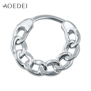 ac DCCKO2Q AOEDEJ Septum Clicker 16g Stainless Steel Body Jewelry Real Septum Ring Indian Nose Ring Silver Nose Clicker Piercing Nez Indien