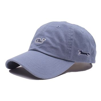 Whale Logo Baseball Hat in Slate by Vineyard Vines, Also Featuring Longshanks the Fox