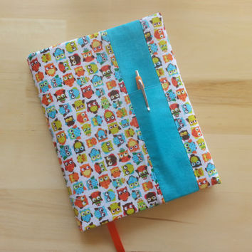 Composition Notebook Cover~ Wide Eyed Owls with Turquoise Accent~ Makes a Great Gift ~ Shipping Included in the Price
