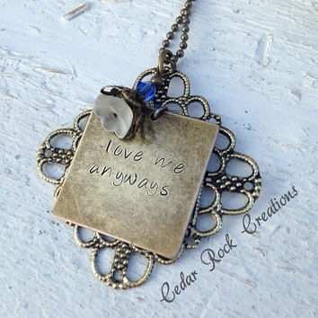 Hand Stamped Filigree Bluebell Necklace - love me anyways