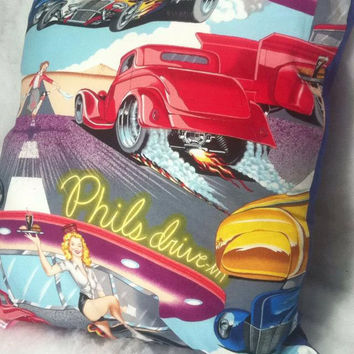 Group One Home®Drive-in 50's Diner Hot Rod Accent Throw Pillow