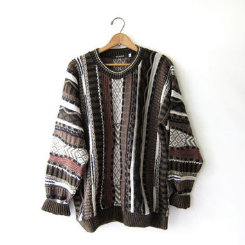 Vintage abstract sweater. Bill Cosby sweater. Oversized wool alpaca sweater. Slouchy jumper