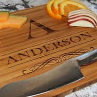 11x14 Personalized Large Bamboo Cutting Board - Anderson Style
