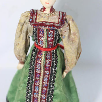 Vintage Rare Bisque Porcelain Cone Body Doll Hand Painted