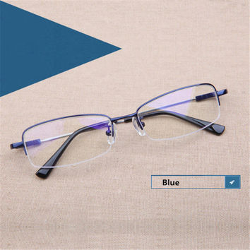 Fashion Lightweight Metal Titanium Glasses Half Frame Memory Material Eyeglasses for Men Women Business Students Myopia Glasses