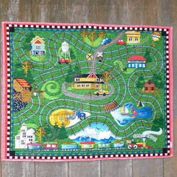 Baby Toddler Boy Quilt, Cotton Patchwork Choo Choo Train Panel, Primary Bright Colors, Reversible Crib Quilt