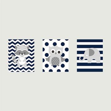 Gray Raccoon Elephant and Owl on Navy Patterns CUSTOMIZE YOUR COLORS, 8x10 Prints, set of 3, nursery decor nursery print art baby room decor