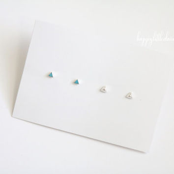 Triangle Earrings Set, Tiny Triangle Studs, Tiny Stud Earrings, Turquoise Earrings, Turquoise Earrings Set, Geometric Earrings, Earrings Set