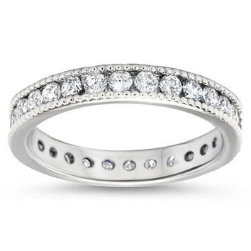 Vintage Style Channel Set Diamond Eternity Band -  Spark