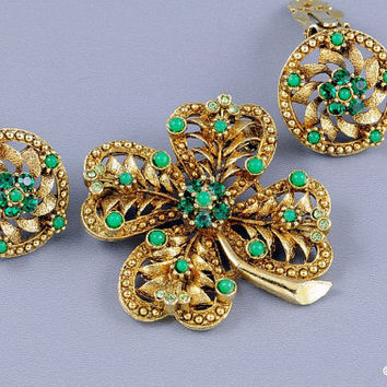 Green Four Leaf Clover Brooch & Earrings Matching Set Rhinestones