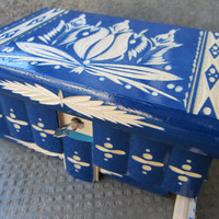 Genuine Impossible Lock Box Puzzle w/ Secret Compartment by European Artisans (Blue)