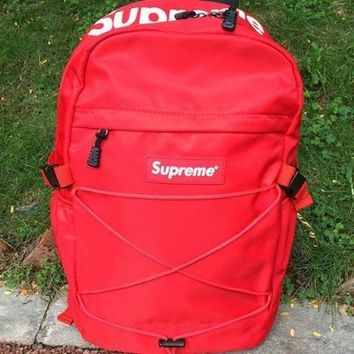 Supreme Canvas Backpack College High School Bag Travel Bag Red