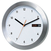 "0-008050>11""h Clock Brushed Aluminum Bezel Silver/White"