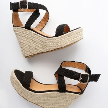 Frances Black Suede Espadrille Wedges