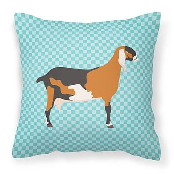 Anglo-nubian Nubian Goat Blue Check Fabric Decorative Pillow BB8057PW1414