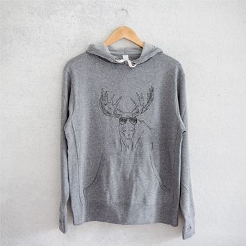Monty the Moose - Grey French Terry Hooded Sweatshirt