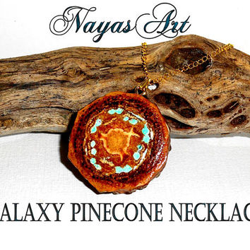 Pine cone Galaxy pendant necklace - natural unique pendant jewelry - pine cone slice pendant - Real pinecone pendant - 100% natural pinecone