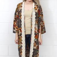 Fallen for You Crochet Printed Long Kimono {Brown Mix}