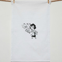 """Bing Bong"" Dinner Bell Lady Dish Towel"