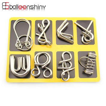BalleenShiny 8 pcs/set Classical Metal Ring Puzzles IQ Brain Teaser Test Toys Locks Educational Learning Gifts for Kids Adults