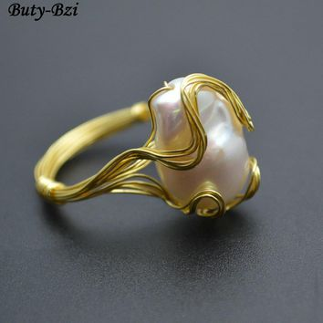 Natural Fresh Water Pearl Baroque Beads Handmade Copper Wire Wrapped Rings Fashion Woman Jewelry