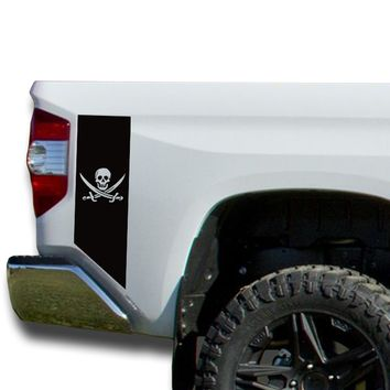 Pirate Jolly Roger Bedside Decals stripe Vinyl Sticker fits 2014-2018 Toyota Tundra