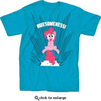 My Little Pony Pinkie Pie Awesomeness Adult Turquoise T-shirt - My Little Pony - Free Shipping on orders over $60 | TV Store Online