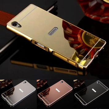 Case For Sony Xperia Z3 Compact Case Sony Xperia Z1 Cases Z2 Z4 Z5 Aluminum Frame + Mirror Acrylic Back Case For M4 M5