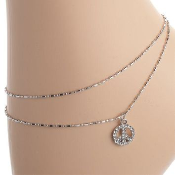 DCCK8UT Gemmed Peace Sign Anklet