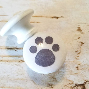 "Handmade Gray Paw Print Knobs Drawer Pulls, Puppy Paws, White Cabinet Pull Handles, 1.5"" Dresser Knob Pulls, Animal Decor, Made To Order"