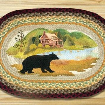 Cabin Bear Oval Patch Rug