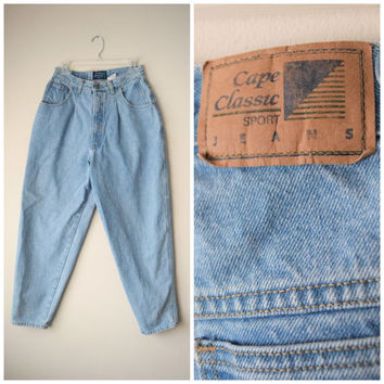 80s Cape Classic TRUE High Waist Tapered Jeans w Waist Pleats // Trendy Hipster Grunge, Old School Hip Hop Style