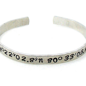 Stainless Steel Coordinates Cuff, Custom Bracelet Cuff, Personalized Bracelet, Custom Cuff, Hand Stamped Cuff, Best Friends Cuff