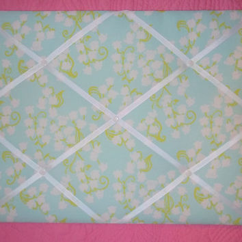 New Memo board made with Lilly Pulitzer Aquamarine Lilly of The Valley fabric