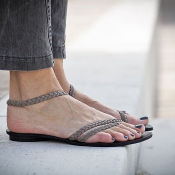 10% Sale, Elle, Grey Braided Leather Sandals, Gray and Black Sandals, Flat Summer Shoes, Minimal Open Sandals