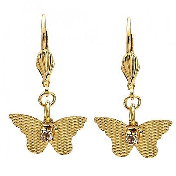 Gold Layered 069.011 Dangle Earring, Butterfly Design, with  Cubic Zirconia, Diamond Cutting Finish, Gold Tone