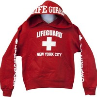 Lifeguard Kids New York City NY Life Guard Sweatshirt Red