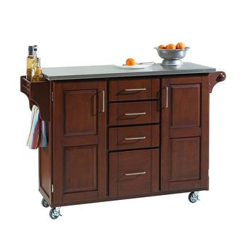 Stainless Steel-Top Kitchen Cart (Brown)