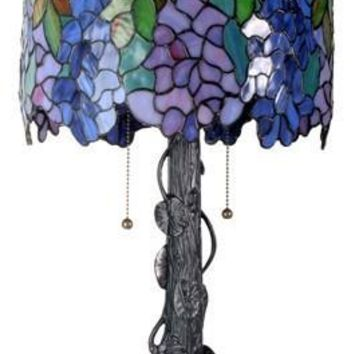 Wisteria Purple Blue Flowers Stained Glass Lamp by Tiffany 25H