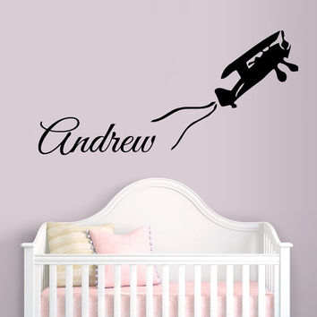 Custom Wall Decals Plane Airplane Aircraft Vinyl Decal Sticker Boy Personalized Name Home Interior Design Kids Nursery Baby Room Decor D1427