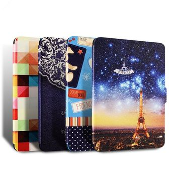 For Amazon kindle paperwhite 1 2 3 Ultra thin filp case for Paperwhite 2015 2016 6th generation E-BOOK Painted cover+film+Pen