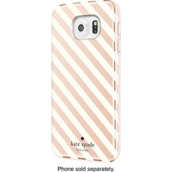 kate spade new york - Hybrid Hard Shell Case for Samsung Galaxy S6 Cell Phones - Diagonal Stripe Rose Gold/Cream